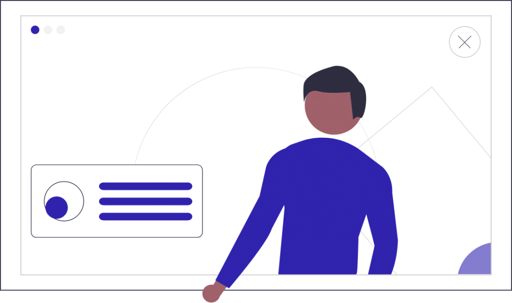 Contact illustratie man